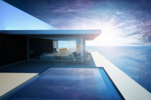 3d rendering of Modern Luxury Apartment with Infinity Pool